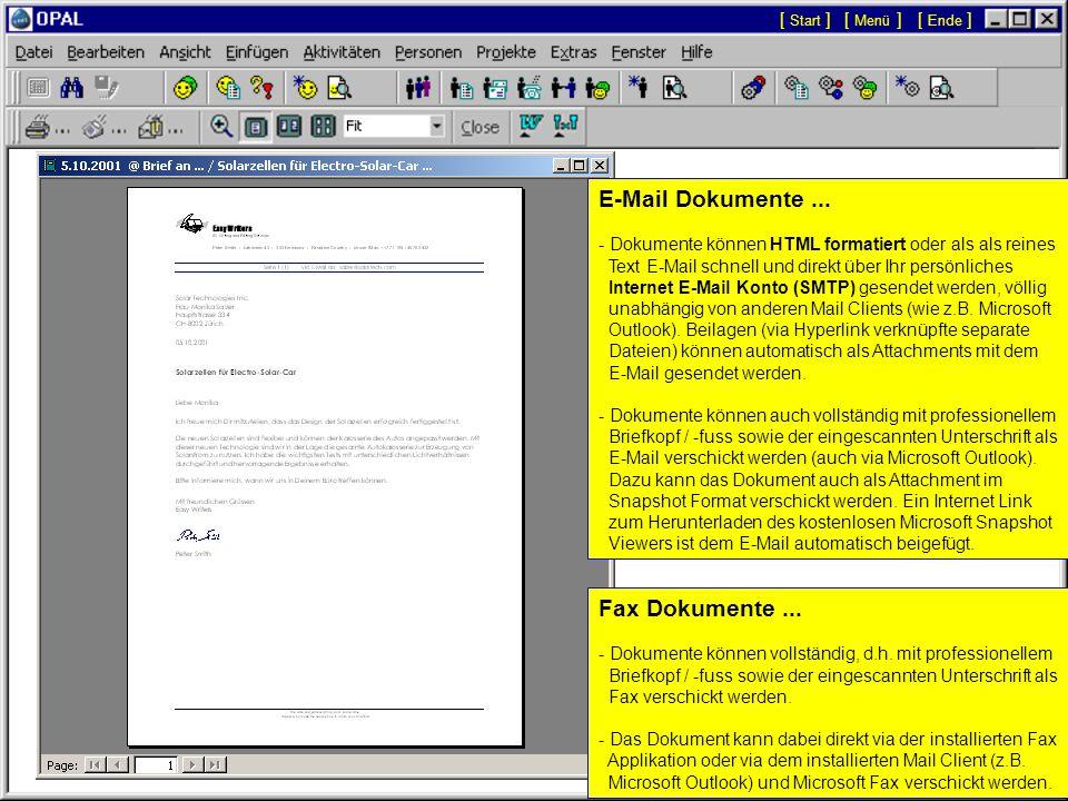 E-Mail Dokumente ... Fax Dokumente ... [ Start ] [ Menü ] [ Ende ]